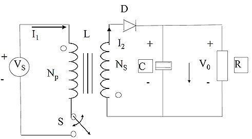 Switch S could be put in the return side of the supply E in the primary windings to give the basic Flyback converter circuit