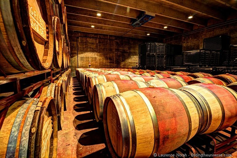 Row of wine barrels in cellar