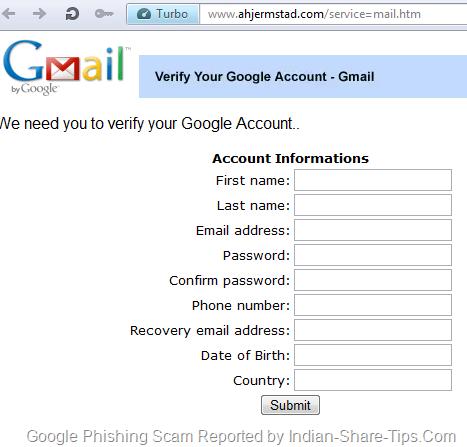 Gmail Phishing email