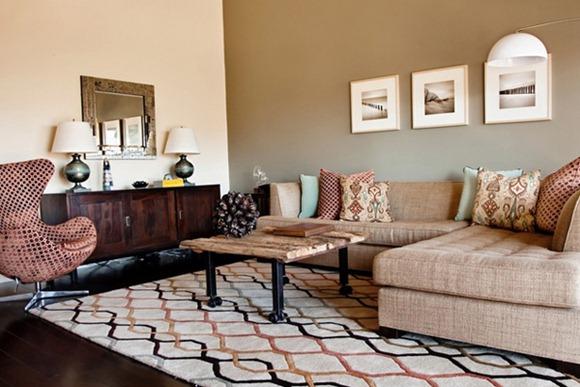 20 impresionantes modelos de living en tonos color tierra for Modelos de muebles para living