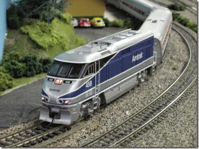 IMG_5418 Amtrak F59PHI #458 on the LK&R HO-Scale Layout at the WGH Show in Portland, OR on February 17, 2007