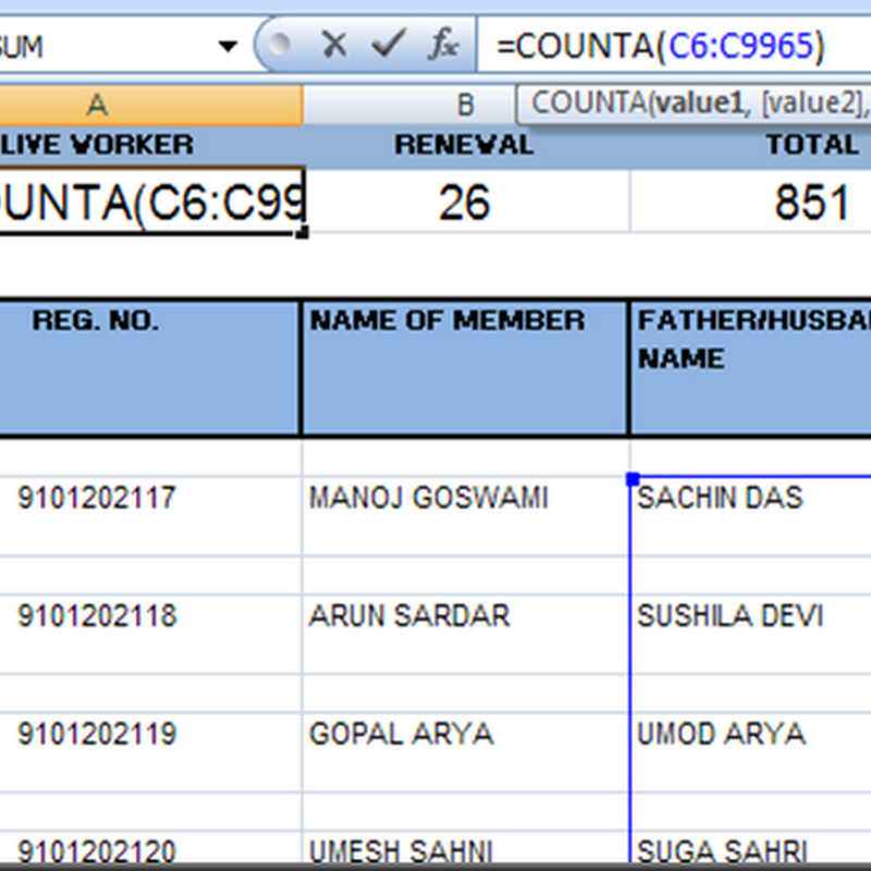 COUNT TEXT DATA WITHOUT COUNTING BLANK ROWS IN EXCEL