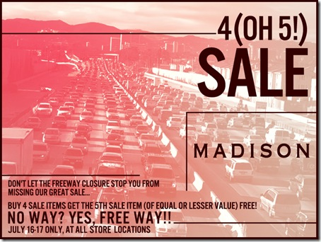 Madison 405 Freeway Closure Sale