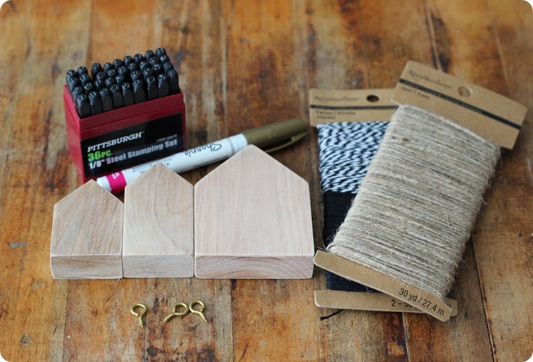 supplies for stamped wood house ornaments