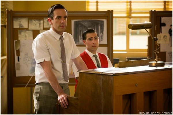 B.J. Novak (L) and Jason Schwartzman as Disney songwriters Robert and Richard Sherman.