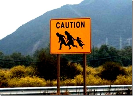Caution- Illegal-Immigration Crossing