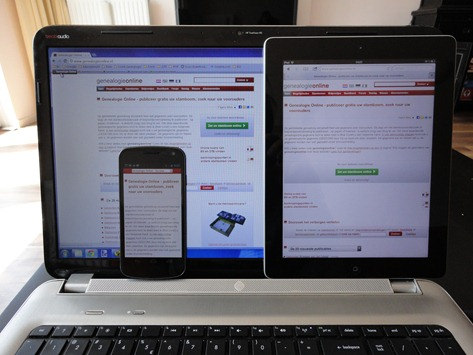 Responsive design op Genealogie Online 