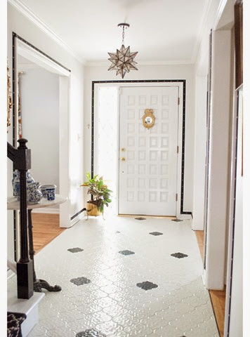 black and white painted tile