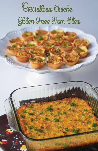 Crustless quiche and gluten free ham bites
