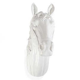Made of glossy white resin, this horse head is quirky wall hanging. (zgallerie.com)
