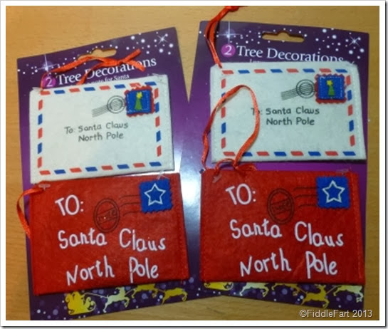 Poundland Tree Decorations. Letter to Santa Envelope Tag