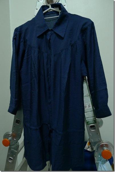 long blue blouse