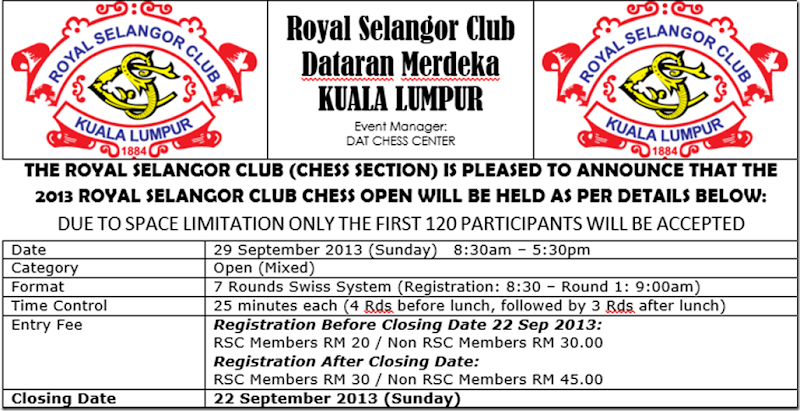 RSC Chess Open 2013 flyer