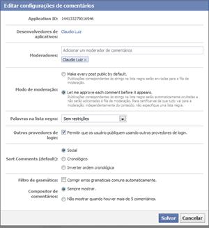 configuração comentarios da facebook no blogger