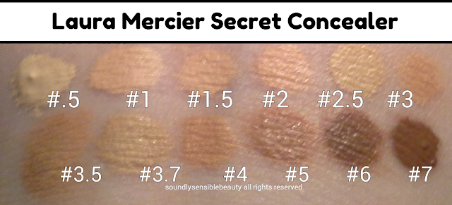 Laura Mercier Secret Concealer; Review & Swatches of Shades .5, 1, 1.5, 2, 2.5, 3, 3.5, 3.7, 4, 5, 6, 7,