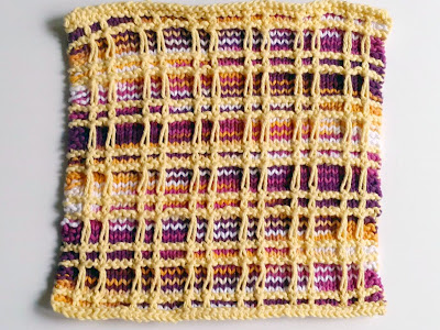 "Knit dishcloth in ""Playful Plaid"" pattern"
