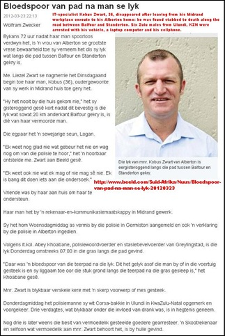 ZWART Kobus Beeld story IT expert of Midrand found stabbed to death on Balfour Standerton Road Mar22 2012