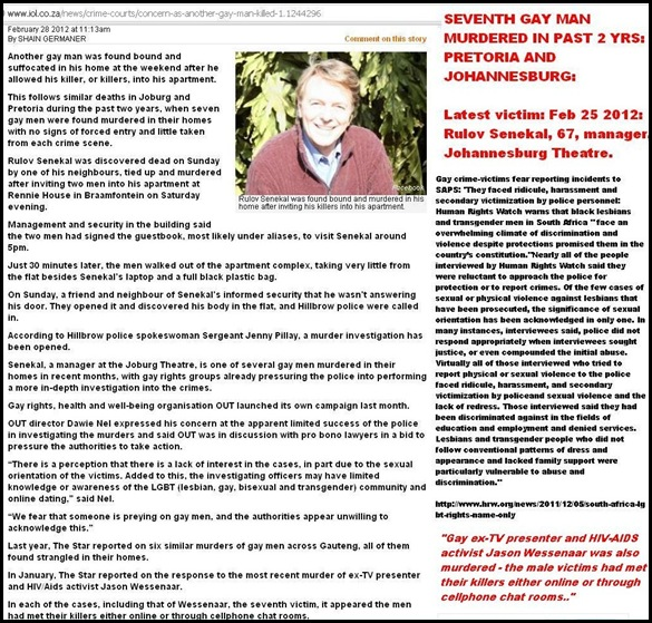 SENEKAL Rulov 7th gay white man murdered Gauteng past 2yrs Feb282012 BRAAMFONTEIN