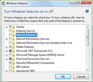 ลบโปรแกรม internet explorer ออกจาก win7