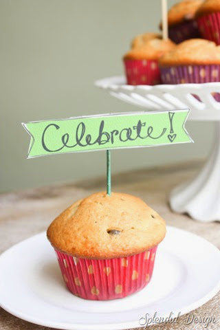 birthday muffins with celebrate printable