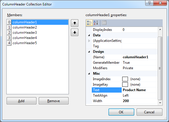 Five columns in the list view 'listView1' represent properties of products stored in the Northwind database