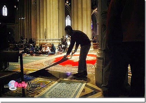 National Cathedral which was prepared for Muslim prayers with rugs 11-2014