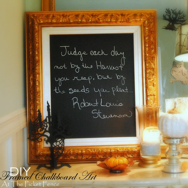 DIY Framed Chalkboard Art - At The Picket Fence