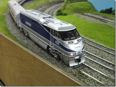 IMG_5391 Amtrak F59PHI #458 on the LK&R HO-Scale Layout at the WGH Show in Portland, OR on February 17, 2007