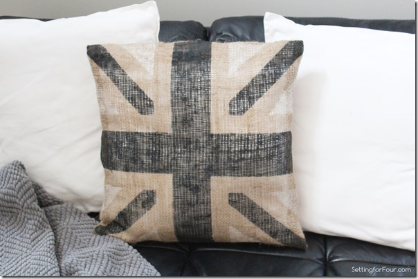 DIY Metallic Burlap Union Jack Pillow www.settingforfour.com