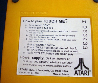 Atari Touch Me handheld