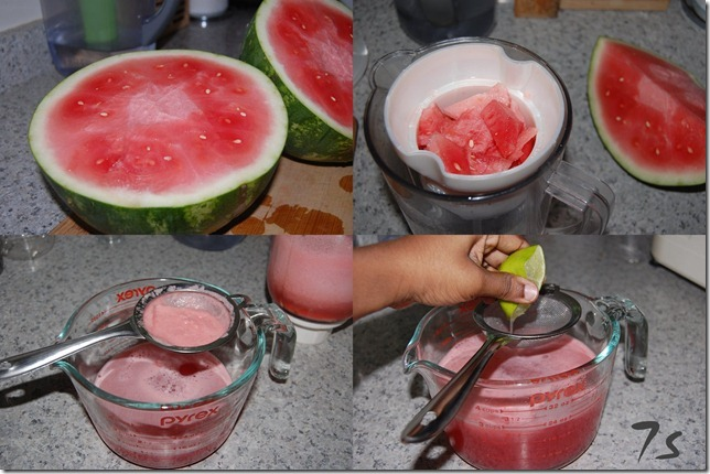 Watermelon agua fresca process