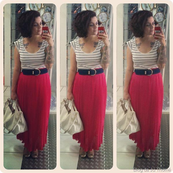 Look saia longa rosa e blusa listrada