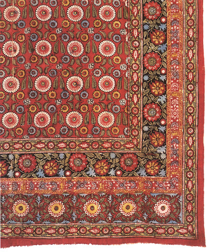 This block-printed cotton chit from Uzbekistan from the 1920s-1930s is characterized by repeating floral motifs and borders.