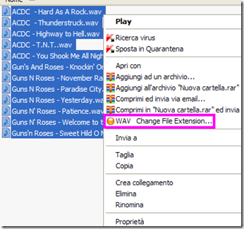 voce Change File Extension nel menu contestuale