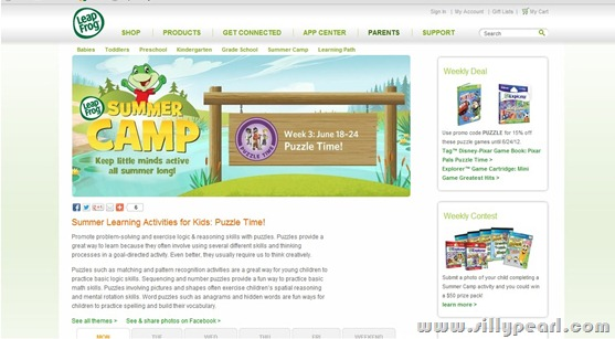 LeapFrog Summer Camp Website Screen Shot