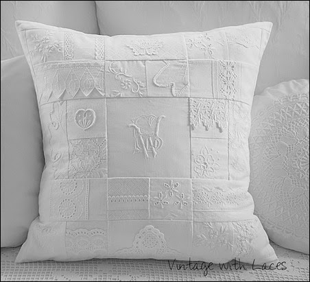 White Patchwork Pillow - Vintage with Laces