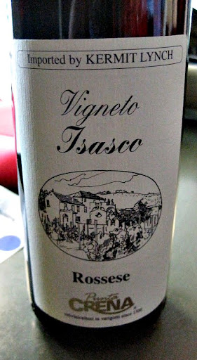 A red wine, called Rossese, from the Ligure region in Italy.