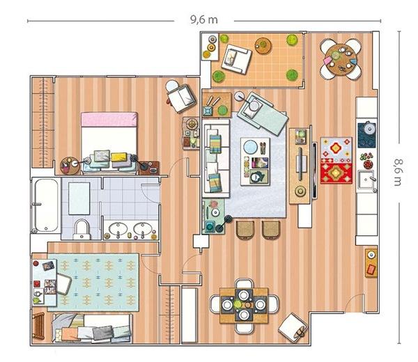 case e interni - ristrutturazione - Madrid - 80 mq - luminoso e ampio  - planimetria