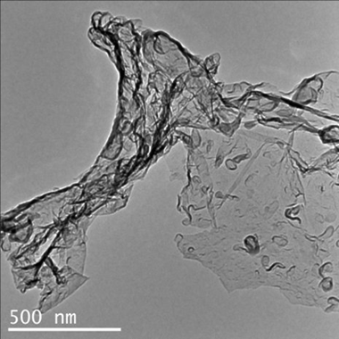 Transmission electron microscopy image of carbon nitride created by the reaction of carbon dioxide and Li3N. Michigan Technological University