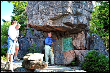 01c - Gorham Mtn Hike - amazing granite and bronze trail marker