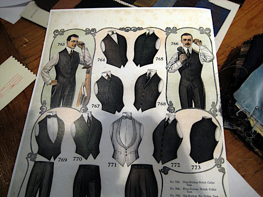 A card at Al's Attire outlining the options for vests.