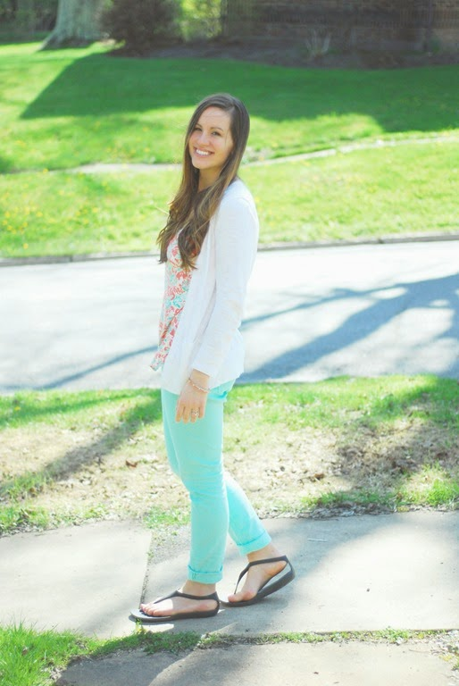 white cardigan mint jeans