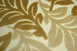 Tkanina obiciowa, trudnopalna. Pluszowa. Motyw roślinny - liście. Brązowa, kremowa, ecru.