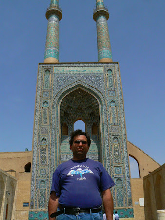The tall minarts of Yazd mosque in Iran