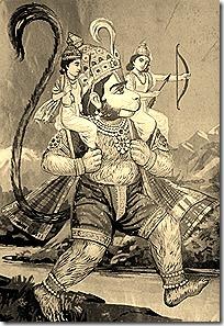 Hanuman holding Rama and Lakshmana