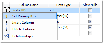Set ProductID as Primary Key.
