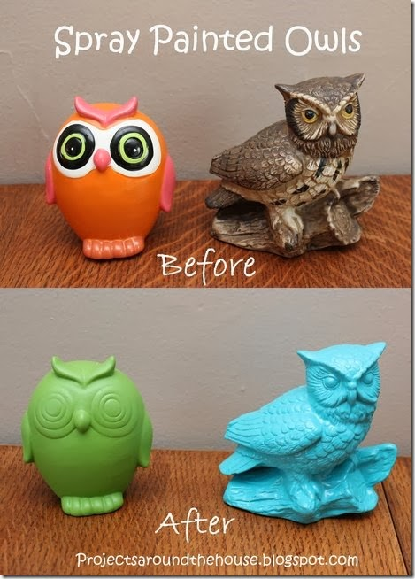 spray painted owls. Black Bedroom Furniture Sets. Home Design Ideas