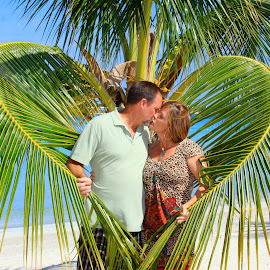 In Love 25 Years by Merrily Carter - People Couples ( love, palm tree, kiss, anniversary, heart, blue sky, couple, beach, people,  )