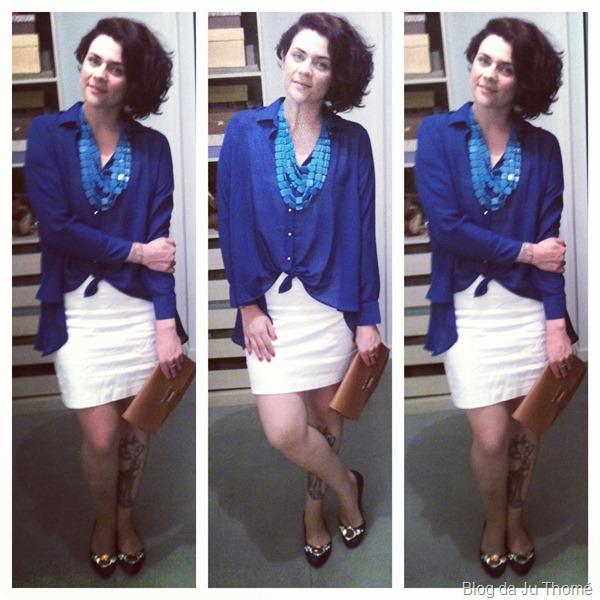 look vestido branco tomara que caia, camisa azul mullet e maxi colar