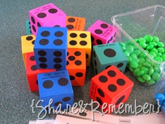 foam dice Roll A Rainbow Preschool Game